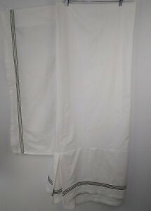 """Pottery Barn Grand Embroidered Bed Skirt King White Thyme Green 14"""" Drop Modern"""