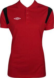 Umbro Womens Polo Shirt Red Short Sleeve Sports Training Top M L XL