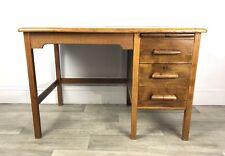 Mid Century, Oak, Single Pedestal Desk, Vintage Industrial Style JE32