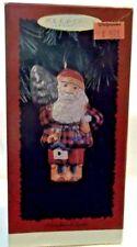 1996 HALLMARK WOODLAND SANTA PRESSED TIN CHRISTMAS ORNAMENT ORIGINAL OWNER-NEW