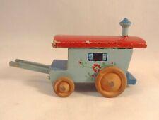 Ancien jouet miniature véhicule roulotte bois peint Années 50