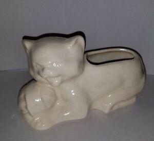 Vtg McCoy Glazed Cat  Pottery Yellow Vase Planter