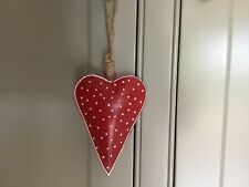 Nordic Red/White Polka Dot Metal Hanging Heart