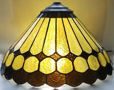 Vintage Stained Glass Shade Lamp, Gold and Brown, Medium Size
