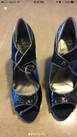 Anthropologie Le Due By Due Farina Patent Leather Woman Shoes Size 8 black
