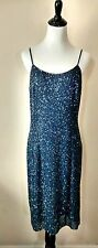 Papell Boutique Evening Beaded Blue Silk Cocktail Dress Size 12