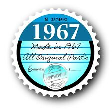 Retro 1967 Tax Disc Disk Replacement Vintage Novelty Licence Car sticker decal