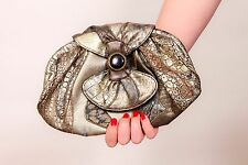 80s metallic silver animal print patchwork grab bag clutch shoulder bag