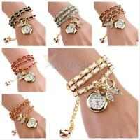 Lady Leather Band Bracelet Watches Fashion Womens Quartz Wrist Watch Weave Chain