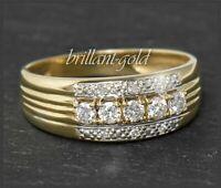 Diamant Damen Ring mit 0,34ct Brillanten, 585 Gold, 14 Karat Gelbgold Bandring