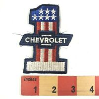 Vtg Embroidered Cloth Red White Blue CHEVROLET #1 Car Truck Patch 00WS