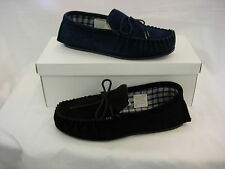 MS245 MOCCASIN SOLE SLIPPERS SUEDE BLACK NAVY UK SIZE 14  size 15 only