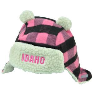 Idaho Gem State USA Pink Black Plaid Toddler Knit Ear Flap  Beanie Ears Winter