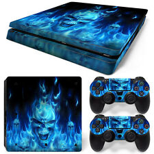 Sony PS4 Playstation 4 Slim Skin Aufkleber Schutzfolie Set - Blue Skull Motiv