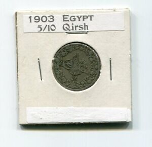 1903 Egypt 5/10 Qirsh, in labeled coin holder