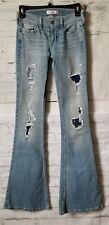 Hollister Women's  Flare Jeans Destroyed W23 L33 Light Wash Denim Distress NEW