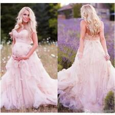 Pink A Line Wedding Dresses Pregnant  Shower Party Custom Bridal Gowns