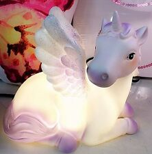 Unicorn Table Lamp LED Kids Bedroom Bedside Table Night Light Glitter Wings XMAS