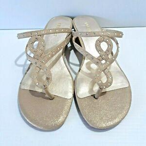 Nine West Gold Thongs Flip Flops Diamontes Slight Wedge Size 8 M
