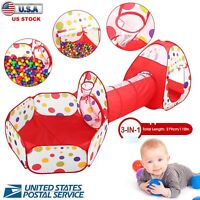 3Pcs Child Crawl Tunnel Tent Kids Play Tent Set Foldable w/Bag Indoor Outdoor