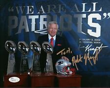 ROBERT KRAFT HAND SIGNED 8x10 COLOR PHOTO        SB TROPHIES     TO TOM      JSA