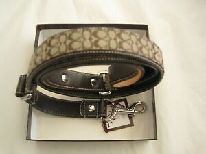 NEW Coach Leather Dog Leash FS4005 (SV/KN) Large  Brown/Khaki Gift-Authentic