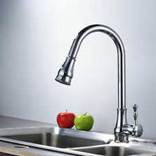 Swivel Pull Out Spray Kitchen Faucet Deck Mount Vessel Sink Mixer Chrome