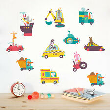 Safari Animals Transportation Tractor Taxi Truck Kids Nursery Sticker Wall Decal