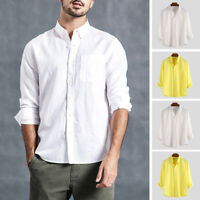 Men's Linen Stand Collar Formal Shirt Business Long Sleeve Solid Shirts Blouse