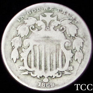 1869 SHIELD NICKEL 5c ~ AWESOME ORIGINAL COIN ~ SCARCE DATE ~ TCC