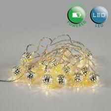 20 X Blanc Chaud À Piles Décoratives DEL Argent Balle chaîne fée lumières