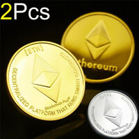 2Pcs Ethereum Crypto Currency Coin BLEMISH Gold Plated Novelty Bitcoin BTC ETH