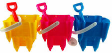 Set Of 3 Sand Castle Making Mould Bucket And Spade Set - Yellow Blue Pink