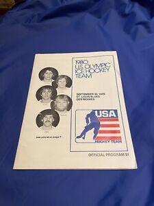 ORIGINAL 1980 U.S Olympic Hockey Team Official Program St Louis Blues NO RESERVE