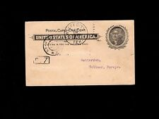 STAMP DEALER Wolfe City Texas Postal Card - Holland 1904 Stamps Message 9o
