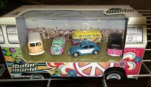 GREENLIGHT MOTOR WORLD Hippie Volkswagen 5 Pack VW bus bug 58001 Diorama