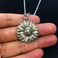 New Antique Silver Tone 29mm Sunflower Pendant Chain Necklace for Women