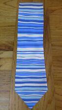 Salvatore Ferragamo blue/white striped tie/cravat 100% Silk