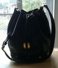 Authentic Vintage MCM Black Leather Studded Motifs XL Drawstring Bucket Bag WOW