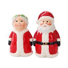 Mr. Mrs. Santa Claus Ceramic Salt & Pepper Shakers. Chrismas Holiday Home Decor