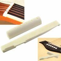 Guitar Bone Bridge Saddle Nut 2Pcs White Acoustic Guitars Ivory Replacement Part