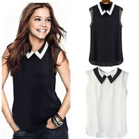 Women Summer Loose Casual Vest Chiffon Tops Sleeveless Tank Lapel Blouse T Shirt