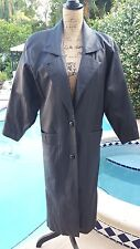 Vintage 80's Pelle Studio Ladies Size Xs Dolman Sleeve Midi Length Leather Coat