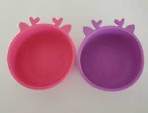 Elk and Friends Silicone Toddler Bowls Eco Kids Pink Purple  100% Safe For Child