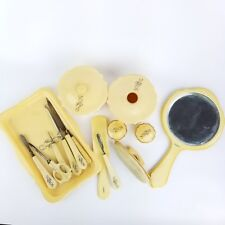 Antique French Ivory Celluloid Manicure and Vanity Set with Tray 19 pc set