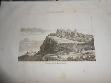 1836 ORIGINAL ANCIENT STEEL ENGRAVING PORTUGAL VIEW OF LISBON FORT ALMEIDA