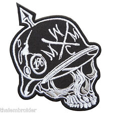 Skull Metal Mulisha Helmet Spearhead Rock Star Rocker Biker Iron-On Patch #SK014