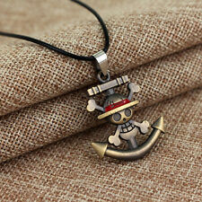 Anime One Piece Necklace Straw hat Luffy Sunny Anchor Skull Wheel Pendant