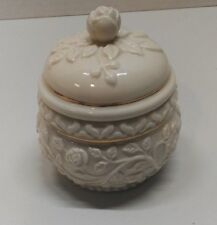 Lenox Ivory China Carved Roung Rose Covered Trinkets