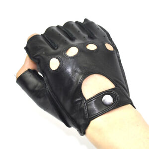Men's Genuine Leather Gloves Stage Dancing Cycling MTB Bicycle Glove Half Finger